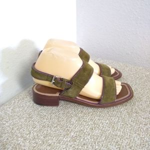 Prada Green Suede Leather Trim Sandals